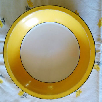 Vintage Yellow AVCO Vitrified China Alliance Ohio Art Deco Restaurant Ware Pie Plate, Vitrified China Pie Plate, Antique Yellow Pie Pan