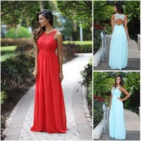 Lace Patchwork Chiffon Maxi Prom Dress