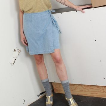 Chambray Wrap Skort / XL 32 Inch Waist