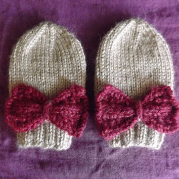 Thumbless Baby Mittens - Knitted Mittens with Bow Embellishment - Bow Baby Mittens