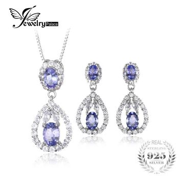 JewelryPalace Elegant 5ct Natural Tanzanite White Topaz Drop Dangle Earrings Pendant Necklace