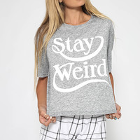 Nana Judy - Stay Weird Tee - Grey Melange