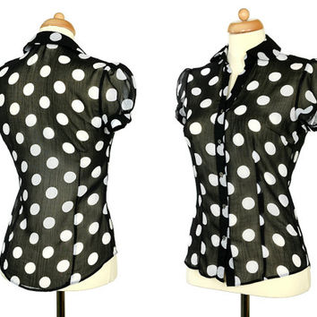 Black White Polka Dot Blouse - Vintage Sheer Woman Clothing