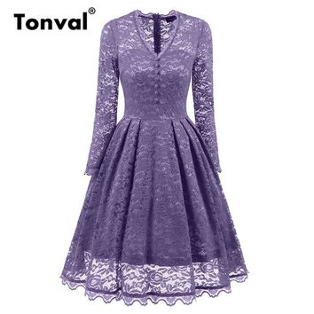 Tonval Vintage Floral Lace Long Sleeve Dresses Sexy V neck Women Evening Party Dress Elegant Autumn Pleated Dress