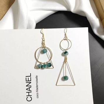 UJBOX Korean Retro Geometric Asymmetric Long Drop Earrings Super Fairy Women Green Stone Triangle Circle Dangle Earrings