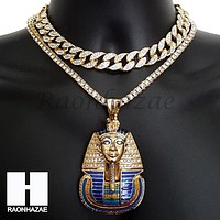 New Hip Hop Iced Out King Tut Pharaoh Miami Cuban Choker Tennis Chain Necklace F