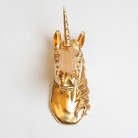 Unicorn Head Wall Art in Gold