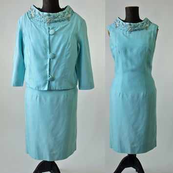 Vintage 60's 2 Piece Dress Suit Aqua Turquoise Beaded1960's Mad Men Wedding Bridal Dress and Jacket size Small/Medium AS IS