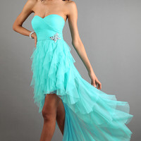 Strapless Sweetheart Layered Ruffle High Low Dress
