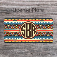 Aztec colorful license plate native tribal car accessory