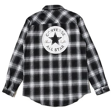 Converse Tide brand retro women's loose plaid shirt black