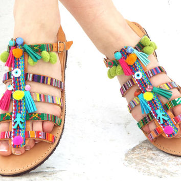 "Colurful Sandals, Hellenic Sandals, ""Sapfw"" Ancient Greek Sandal, barefoot, hippie leather shoes, Summer shoes Valentine's gift for women"