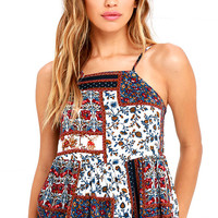 Desired Climates Navy Blue Print Top