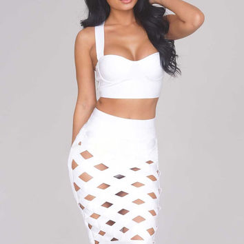 Sexy White Open Caged Bandage Skirt Set