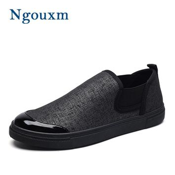 Ngouxm Spring Autumn Men Slip On Casual Fabric Loafers Moccasins Brown Black Italian Shoes Man Patchwork Cloth Men's Flats Shoes