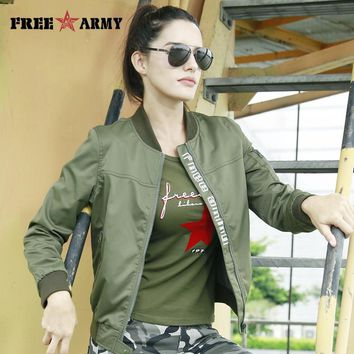 Trendy Freearmy Military Coat Female Jacket Autumn Letters Print Women's Jackets Camouflage Ladies Clothing Baseball Jacket 2018 Fall AT_94_13