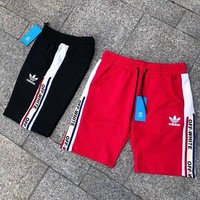 ADIDAS X Off White Clover Men's Training Sports Lace-up elastic waist stitching printed casual shorts