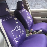 Hello Kitty Car Seat Covers 10pcs Set-Purple (Pink Sachet As Gift)
