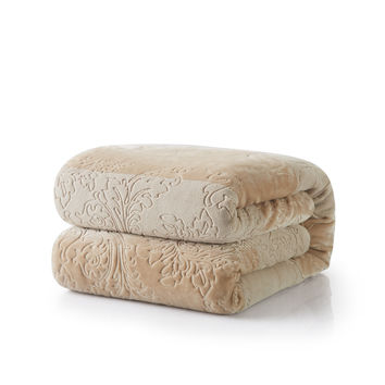 Tache Embossed Bubbly Champagne Beige Sherpa Throw Blanket
