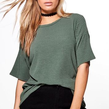 Plus Charis Ribbed Oversize Knitted Tee | Boohoo
