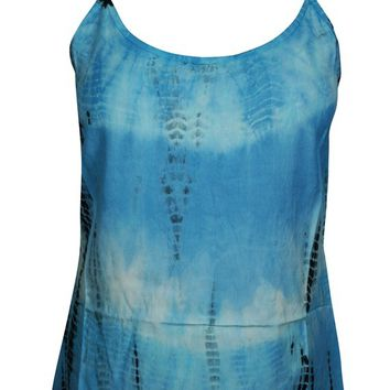 Blue Tie Dye Spaghetti Top Stylish Sleeveless Blouse