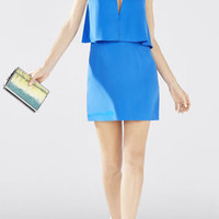 Kate Strapless Overlay Dress - Blue
