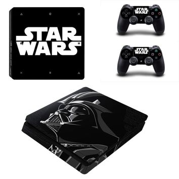 Vinly Skin Sticker Cover for Sony PS4 Slim PlayStation 4 SLIM Console and 2 controller skins - Star Wars