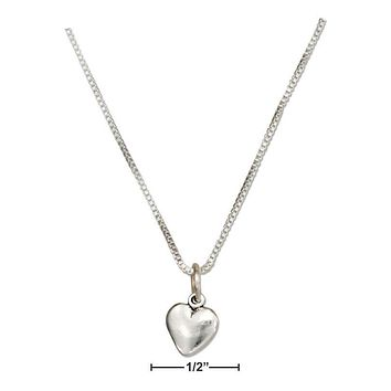 """Sterling Silver Necklace:  18"""" Tiny Puffed Heart Necklace"""