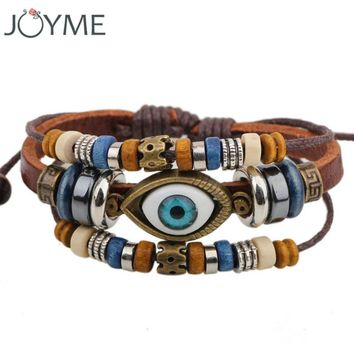 Unisex Leather Rope Wrap Bracelet For Men Women Turkey Bracelet Jewelry Cool Vintage Adjustable Layered Charm Evil Eye Bracelets