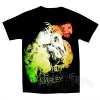 Bob Marley Guitar Smoke Black T-Shirt - Men's @ RastaEmpire.com