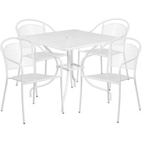 35.5'' Square Indoor-Outdoor Steel Patio Table Set with 4 Round Back Chairs