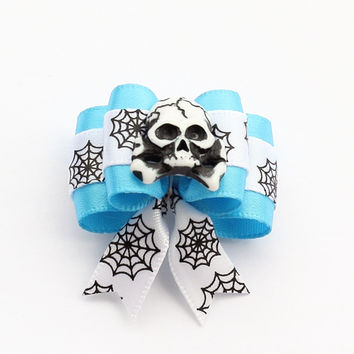 Armi store Handmade Accessories Skull Ribbon Dog Bow Dogs Halloween Bow 6026015  Pet Grooming Hair Supplies