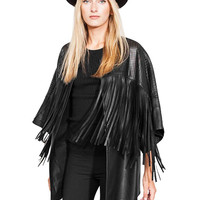 Artificial Leather Jacket with Tassel Detail