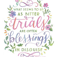 Blessings in Disguise - Oscar Wilde Quote - Hand Painted Typography Print