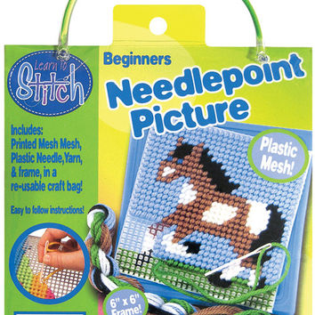 Horse Learn To Stitch Needlepoint Kit - Blue Frame
