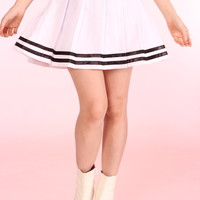 Glitters For Dinner — Made To Order - White Cheer Skirt with Black Stripes