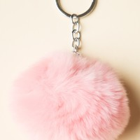 PINK FUR BALL KEYCHAIN