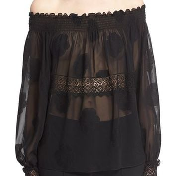 Yigal Azrouël Smocked Fil Coupé Off the Shoulder Top | Nordstrom