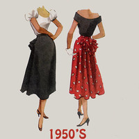 Vintage 50s Misses Skirt w/ Ruffle Bustle Sewing pattern McCalls 8808 Rockabilly 50s Pattern Wasit Size 24 Hip 33