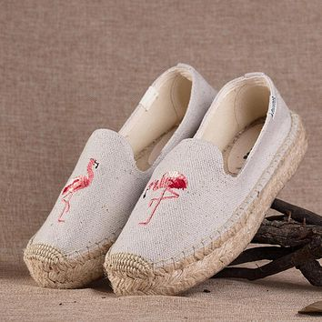 Soludos Women Thick Bottomed Flamingo Embroidered Straw Shoes