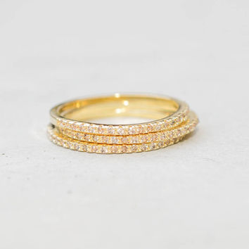 Eternity Ring Set - Gold with Champagne Stones