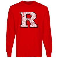 Rutgers Scarlet Knights Distressed Primary Long Sleeve T-Shirt - Scarlet