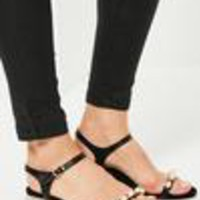 Missguided - Black Pearl Detail Sandals