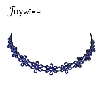 Gothic Style Punk Tattoo Choker Necklace Grunge Blue suede fabric Hollow out Flower Choker Necklace