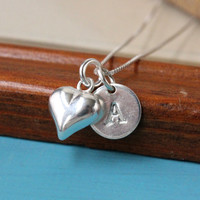 Heart and initial necklace, 925 Sterling Silver, tiny puffed hear and letter charm, box chain, silver necklace, love necklace, gift for her