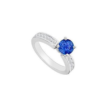 14K White Gold : Sapphire and Diamond Engagement Ring 0.80 CT TGW