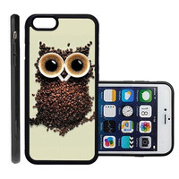 RCGrafix Brand Coffee Owl Apple Iphone 6 Plus Protective Cell Phone Case Cover - Fits Apple Iphone 6 Plus