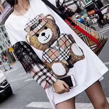 """Moschino"" Fashion Casual Cute Multicolor Lace Tartan Cartoon Bear Letter Print Loose Long Sleeve Cotton Sweater Mini Dress"
