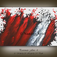 """Red Modern Valentine Wall Art Painting 36"""" Original Love Friendship Red Painting, Oil Abstract Artwork Canvas Art Framed by Nandita Albright"""