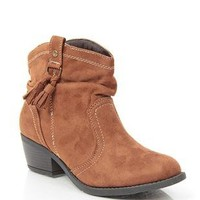 slouched ankle height western boot with fringe tassel - 1000052959 - debshops.com